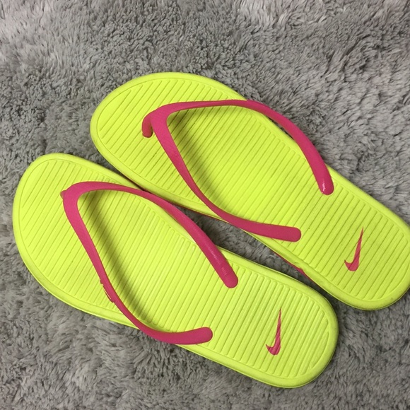 sports shoes 22619 3cad3 -Neon Lime Green Nike Slippers